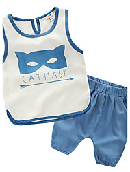 Summer Cartoon Vest Boys Cotton Leisure Suit Two-Piece Baby Clothing Tide