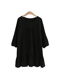 Mulheres Solto Vestido,Casual / Tamanhos Grandes Moda de Rua Sólido Decote Redondo Mini Manga ¾ Branco / Preto Linho Verão