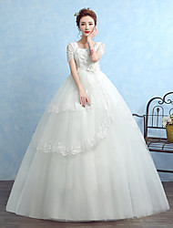 Ball Gown Wedding Dress Floor-length Square Tulle with Appliques