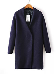 Damen Solide Einfach Lässig/Alltäglich Mantel,Winter V-Ausschnitt Langarm Schwarz Mittel Polyester