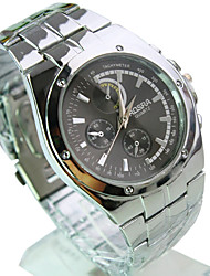 Men's Fashion Watch Quartz Casual Watch Stainless Steel Band Silver