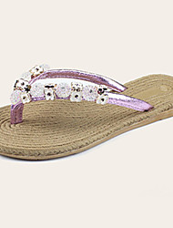 Women's Slippers & Flip-Flops Summer Flip Flops Synthetic Casual Flat Heel Others Black / Purple / Silver / Gold