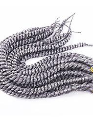 12-24 inch Crochet Braid Havana Mambo Afro Twist Hair Extension Silver Grey with Crochet Hook
