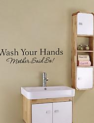 Fashion Bathroom Wash Your Hand English Words Wall Stickers DIY Waterproof Bathroom Stickers
