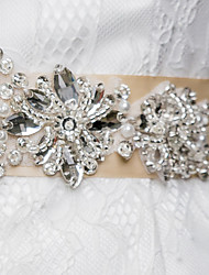 Satin Wedding / Party/ Evening / Dailywear Sash-Beading / Pearls / Rhinestone Women's 98 ½in(250cm) Beading / Pearls / Rhinestone