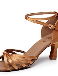 Sapatos de Dança(Preto / Azul / Marrom / Vermelho / Prateado / Dourado / Leopardo / Outro) -Feminino-Personalizável-Latina