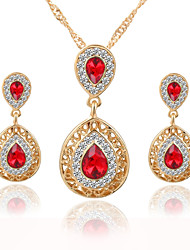Water Drops Crystal Alloy With Rhinestone Earrings Necklace Jewelry Set Women's Wedding Bridesmaids Presents