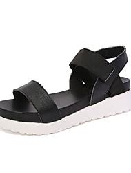 Damen-Sandalen-Lässig-PU-Keilabsatz-Sandalen-Schwarz / Weiß / Silber