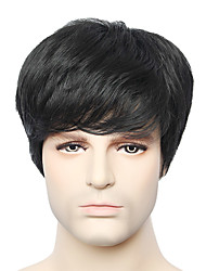 Capless Black Color Short Straight Men's Human Hair Wig for Young Men