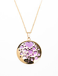 Fashion Purple Acrylic Inlay 316L Stainless Steel Heart Shape Hollow Pendant Necklace