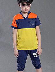 Boy's Sports Striped Clothing Set,Cotton Summer Blue