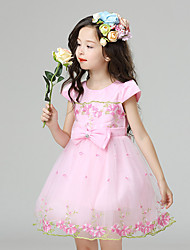 A-line Knee-length Flower Girl Dress - Cotton / Satin / Tulle Short Sleeve Jewel with Bow(s) / Embroidery
