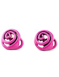 European Luxury Gem Geometric Earrrings Rose Flower Stud Earrings for Women Fashion Jewelry Best Gift