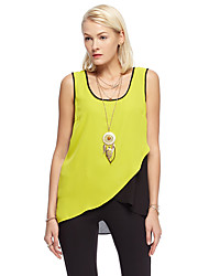 Women's Going out Simple Summer Tank Top,Patchwork Round Neck Sleeveless Yellow / Purple Polyester Thin