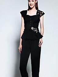 De las mujeres Sofisticado Noche Verano Conjunto,Escote Cuadrado Un Color Manga Corta Algodón Negro Medio