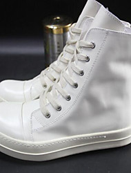 Men's Shoes Cowhide / Leather Outdoor Boots Outdoor Walking Flat Heel Lace-up Black / White / Gray