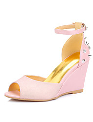 Women's Shoes PU Wedge Heel Wedges / Peep Toe Sandals Party & Evening / Dress / Casual Pink / Purple / Almond