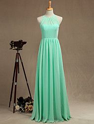 Formal Evening Dress A-line Jewel Floor-length Chiffon with Pleats