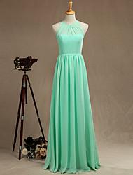 Formal Evening Dress A-line Jewel Floor-length Chiffon with Pleats