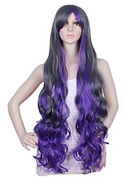 Extra Long 100CM Body Wave Purple Plus Black Charming Color Cosplay  Halloween Party Wigs
