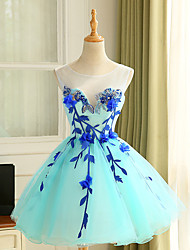 Cocktail Party Dress Ball Gown Jewel Knee-length Tulle with Appliques