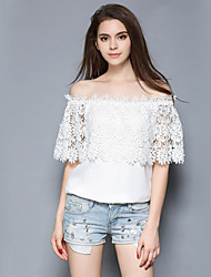 Women's Casual/Daily Street chic Summer Blouse,Solid Boat Neck ½ Length Sleeve White Polyester Medium
