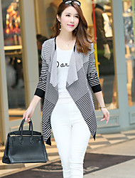 Women's Striped Pink / Black Cardigan,Street chic Long Sleeve