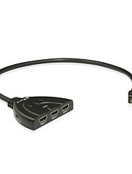 portta hdmi switcher 3x1 pigtail 1.3 avec la mise à niveau d'alimentation support 3d 1080p