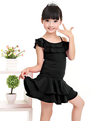 Children's Performance Milk Fiber Ruffles 2 Pieces Short Sleeve Natural Top / Skirt Children's Latin Dance Dress