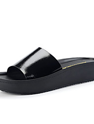 Women's Spring / Summer / Fall Open Toe / Slippers Leather Dress / Casual Low Heel Slip-on Black / White