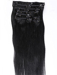 Evawigs  #1 Jet Black Color Clips in Straight Brazilian Human Hair Machine Made Wefts Full Head Hair Extensions