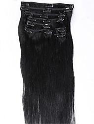 evawigs # 1 jet black Farbclips in geraden brasilianischen Menschenhaarmaschine gemacht Schüssen vollen Kopf Haarverlängerungen