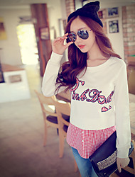 Pink Doll® Women's False Two Pieces Round Neck Long Sleeve Hoodie White-X14CSW032