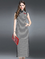 ES·DANNUO Women's Going out Sophisticated Bodycon Dress,Striped Stand Midi Sleeveless Black Cotton / Spandex Summer