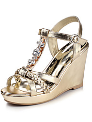 Women's Shoes PU Spring / Summer / Fall Wedges Heels Party & Evening / Dress / Casual Wedge Heel Crystal Gold