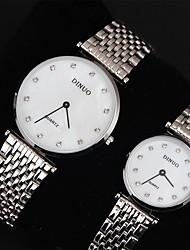 Couple's Womens'/Men's Watch Imitation Diamond Lover's Watch Fashion Dress Style Stainless Steel Band Quartz Wrist Watch