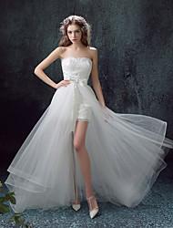 N / A Hochzeitskleid Pinsel Schleppe Herzausschnitt Spitze / Tüll mit Schärpe / Band