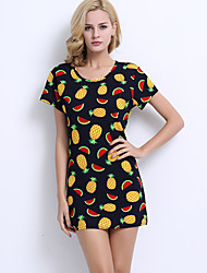 Women's Going out Vintage Plus Size / Bodycon Dress,Print Round Neck Above Knee Short Sleeve Black Polyester All Seasons