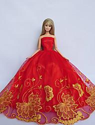 Princesa Vestidos Para Barbie Doll Vermelho / Amarelo Vestidos