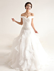Linha A Vestido de Noiva Cauda Corte Ombro a Ombro Organza com Com Apliques / Miçanga / Cruzado / Renda / Babados