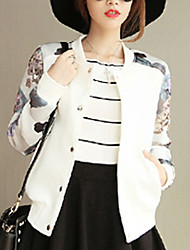 Women's Casual/Daily Street chic Spring / Fall Jackets,Floral Round Neck Long Sleeve White / Black Cotton Thin
