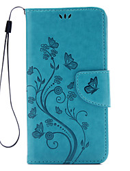 For Huawei Case / P9 / P9 Lite Wallet / Card Holder / with Stand / Flip / Embossed Case Full Body Case Butterfly Hard PU Leather Huawei