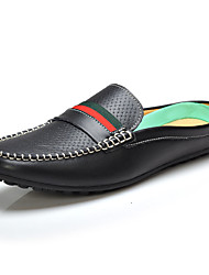 Serene® Men's Cowhide Loafers / Boat Shoes / Slip-on Black / White / Dark Green-5180