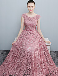Formal Evening Dress A-line Scoop Floor-length Lace / Satin with Lace / Sash / Ribbon
