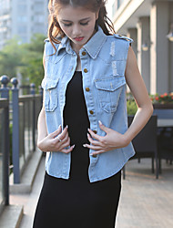 Women's Casual/Daily Simple / Street chic Summer Denim Jackets,Solid V Neck Sleeveless Blue Others Thin