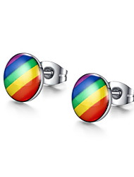 Earring Round Stud Earrings Jewelry Women Fashion Daily / Casual Stainless Steel 1 pair Silver