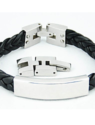 Fashionable 316L Stainless Steel Weave Leather Bracelets Adjustable Length