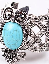 Feminino Pulseiras Algema Aberto Europeu bijuterias Moda Estilo Boêmio Pedras dos signos Ajustável Clássico Turquesa Liga Formato Animal