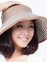 Beach Visor Stripe Empty Top Hat Portable Folding Bow Hat