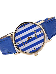 Women's Stripe Case Leather Band Analog Quartz Watch Wrist Watch